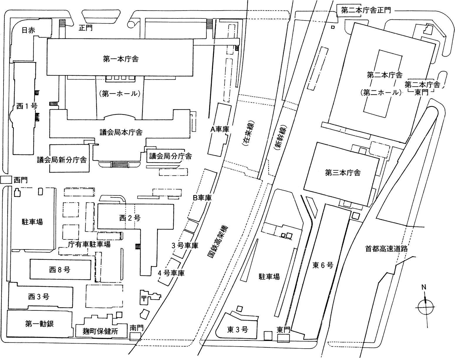 旧都庁舎の分散状況(1984年10月現在)