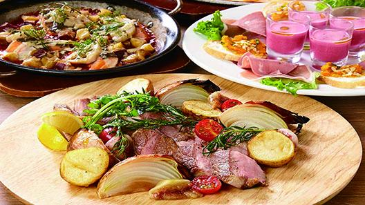 熟成黒豚のグリルとサーモンのオーブン焼きを楽しむ[秋のボーノコース]